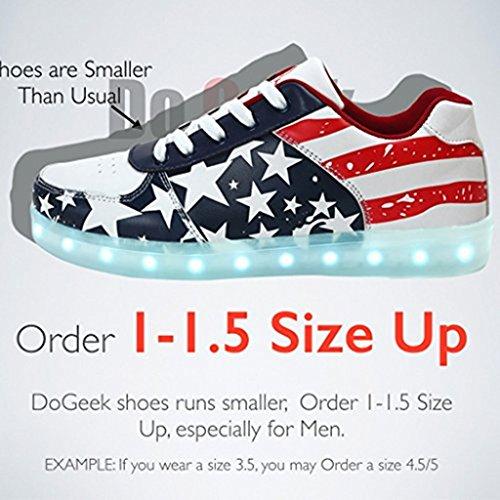 DoGeek Zapatos LED Niños Niñas 7 Color USB Carga Deportivas de Luces Zapatillas(Mejor Pedir Una Talla Más) Rojo
