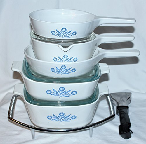 Vintage Corning Ware Cornflower Blue Skillet Casserole Baking Dishes w Detachable Handle, 10 Piece Set