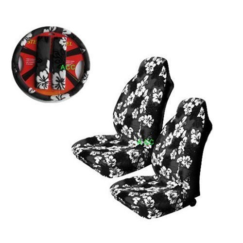Universal-fit Hawaiian Hibiscus Floral Print Front Bucket Seat Cover, Steering Wheel Cover and Shoulder Harness Pressure Relief Cover - Black