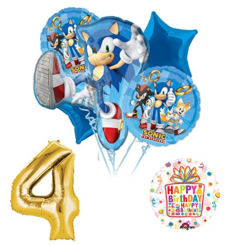 Sonic The Hedgehog 4th Birthday Party Supplies and Balloon Decorations (Sonic Decorations)