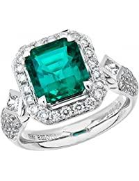 18k White Gold Colombian Emerald Ring and Diamond Ring (0.88 cttw, G-H Color,VS2-SI1 Clarity)
