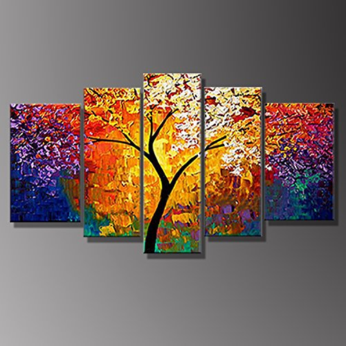 Colorful Canvas (Golden Tree Colorful Pictures Salon Living Room 5 Panels Wall Canvas Painting Prints Giclee Poster Framed Ready To Hang by uLinked Art)