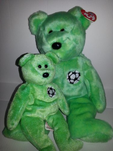 - Ty Beanie Baby Set of Two - Matching Beanie Baby and Buddy -Kicks the Soccer Bear