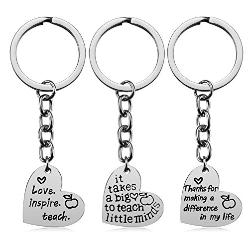 Teacher Appreciation Gifts for Women, 3PCS Heart Pendant Keychain Jewelry Set, Thank You Gift Graduation Gift for Teachers]()