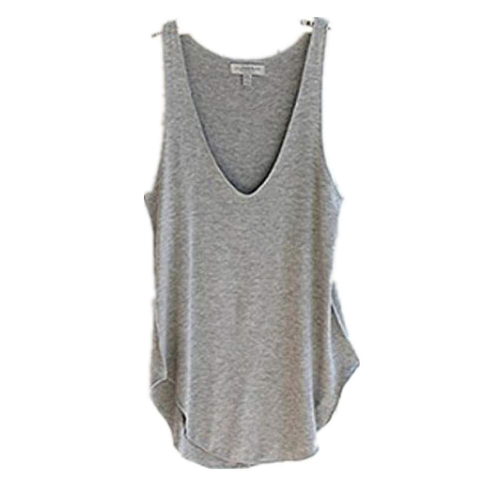 a9edd0019b6f6 Perman Women s Sexy Summer Sleeveless V-Neck Candy Vest Loose Tank Tops  T-shirt (Black) at Amazon Women s Clothing store