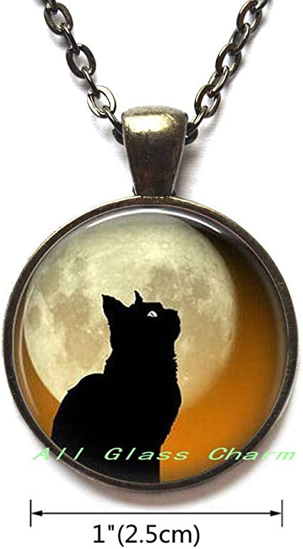 Beautiful Locket Necklace,Black Cat Moon Locket Necklace Locket Pendant Black Cat Profile Full Moon,AS0140 Halloween Cat Jewelry