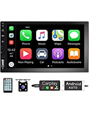 CarPlay Double Din Car Stereo Hodozzy 7 Inch Touch Screen Car Radio Bluetooth FM AM Car Audio Support Android Auto Mirror Link USB AUX-in RCA + Backup Camera + Remote