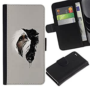 LECELL--Cuero de la tarjeta la carpeta del tirón Smartphone Slots Protección Holder For Apple Iphone 4 / 4S -- Mujer & Wolf --
