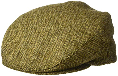 Biddy Murphy Irish Hats for Men Mens Flat Cap Brown Herringbone 100% Wool Made in - Wigens Wool