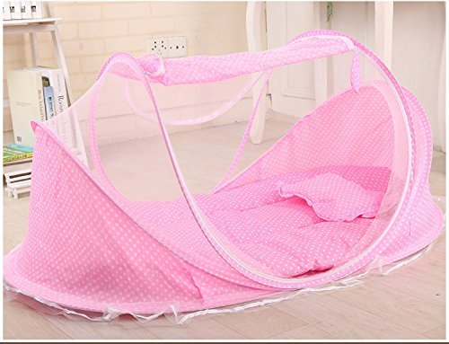 SUPOW Baby Mosquito Net Bed, Portable Infant Tent Folding Infant Travel Crib Mosquito Bed Summer (Pink/) by SUPOW (Image #2)