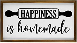 Happiness Is Homemade Rustic Wood Wall Sign,Hanging Wood Sign With Frame,inspiring lettering,quote saying words Sign Decor for Garden,Personalized Text Saying Party Funny Wooden Farmhouse Quotes Label