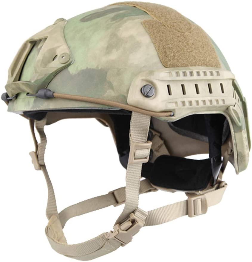 This is the image of the EMERSONGEAR Tactical Adjustable Helmet, with Side Rails and NVG Mount, in moss green color.