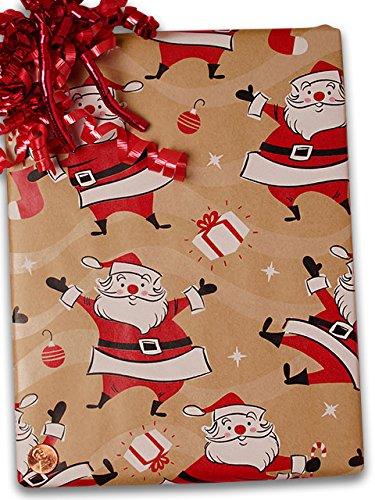 24'' X 100' Swingin' Santa/Kraft Gift Wrap by Paper Mart