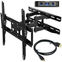 Everstone TV Wall Mount Fit Most 23'-65' TVs Dual Articulating Arm Full Motion Tilt Swivel Bracket 14' Extension Arm,LED,LCD,OLED& Plasma Flat Screen TV,Curved TV,up to VESA 400mm,HDMI Cable