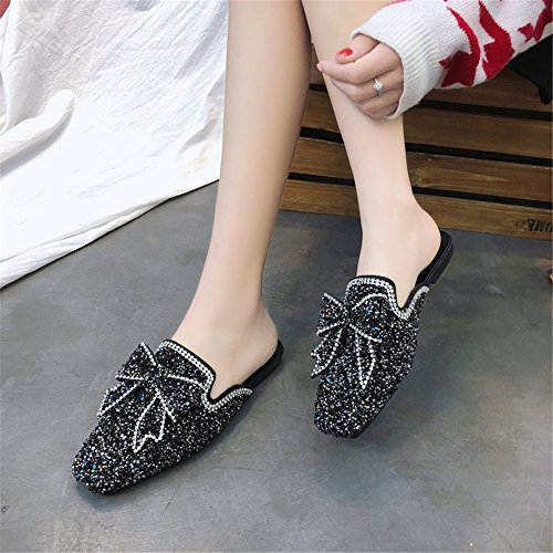 Slippers Sandals Women's Shoes Sexy Red Tie Mid Bow Cute Black Summer Heeled Mules COLOV Soles Satin Heel HZqwzH