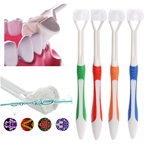 SYlive 4 pcs Adult Manual Toothbrushes, Sided Toothbrush Ultrafine Soft Bristle Adult Tooth Brush For Health Teeth (multicolor) ()