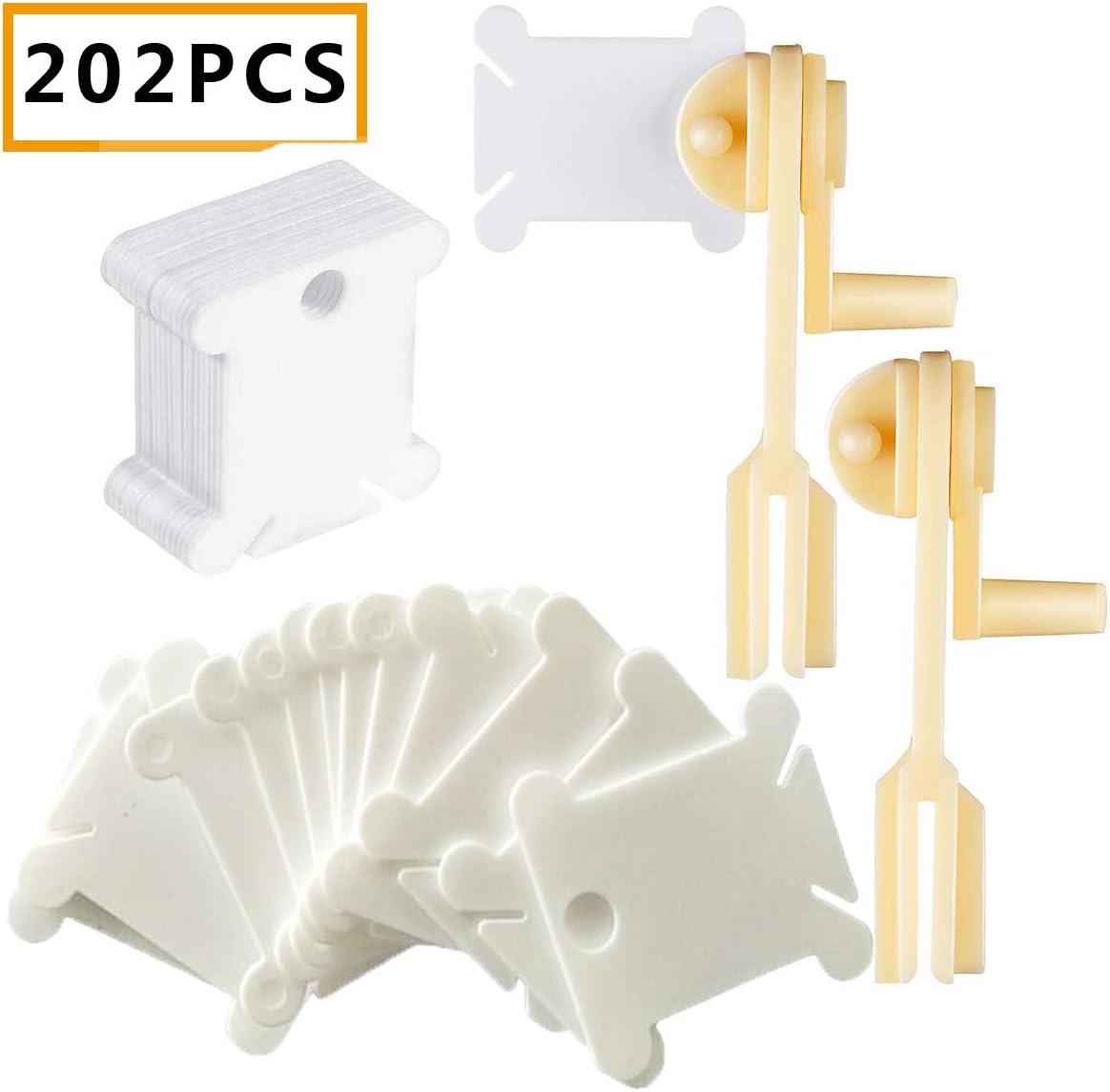 200PCS Bobinas de Hilo Punto de Cruz,Osuter Plastico Bobinas con 2PCS Bobinadora para Arte Bordado Tejeduría Manualidades
