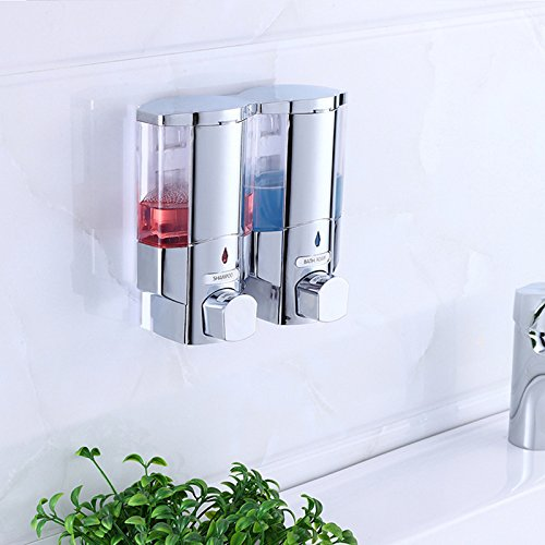 Hotel Household Bathroom Kitchen Double Bottles Shower Dispenser Durable Wall-mounted Soap & Shower Dispenser Chrome Hand Push Liquid Soap Dispensers - Double Chrome Soap