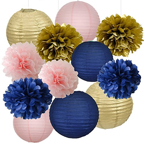12pcs-Mixed-Navy-Blue-Pink-Gold-Party-Tissue-Pom-Poms-Hanging-Paper-Lantern-Ball-Nautical-Themed-Wedding-Birthday-Girl-Baby-Shower-Nursery-Decoration