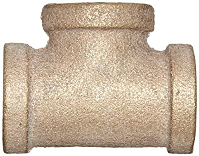 "Anderson Metals 38101 Red Brass Pipe Fitting, Tee, 1/2"" x 1/2"" x 1/2"" Female Pipe"