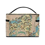 Vintage 1935 New York State Map Portable Travel Makeup Cosmetic Bags Toiletry Organizer Multifunction Case