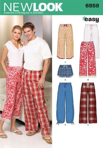 New Look Sewing Pattern 6859 Miss/Men Separates, Size A (XS-S-M-L-XL) (Pajama Sewing Pants)