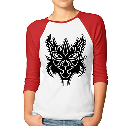 DonSir Horror Mask Women Round Collar Raglan Tshirt Red XXL -