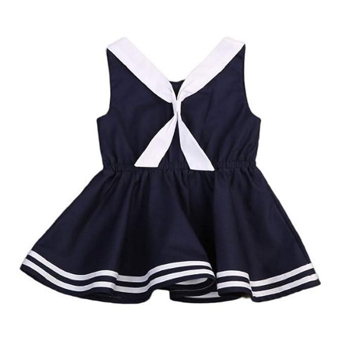 Oudan Vestido Estilo Chaleco Azul Marino Baby Girl Bowknot Princesa Encaje Falda Vestidos de Lentejuelas de Verano para bebés pequeños 4-9 años: Amazon.es: ...