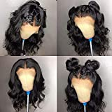 Fureya Short Bob Wigs with Baby Hair Natural Wavy Glueless Lace Front Wigs Synthetic Heat Resistant Fiber with Natural Hairline 12 inch Bob Wigs