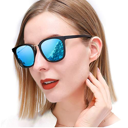 SIPHEW Womens Mirrored Sunglasses Polarized, Fashion Oversized Eyewear with UV400 Protection for Outdoor (Bright Frame with Blue Lens)