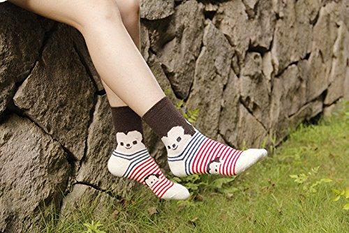 Generic [5 pairs] Japanese cartoon animal stripe wool socks