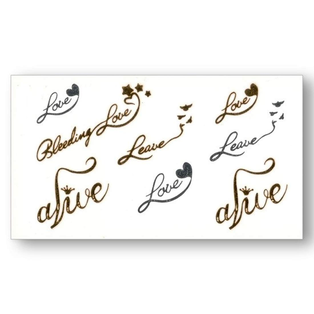 S A V I 3d Temporary Tattoo Golden And Silver Metallic Sticker Cute Love Alive Text Design Size 10 5x6cm 1pc Gold 4 G Amazon In Beauty