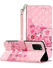"""3D Wallet Case for Samsung Galaxy S20 Plus 6.7"""",Aoucase Ultra Slim Strap Fancy Painted Magnetic PU Leather Soft Silicone Card Slot Stand Case with Black Dual-use Stylus,Pink Bear Flowers"""