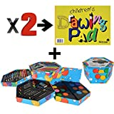Childrens 52 Pcs Craft Art Artists Colouring Drawing Set Hexagonal Box Crayons Paints Pens Pencils And 2 Silvine Popular Drawing Pads