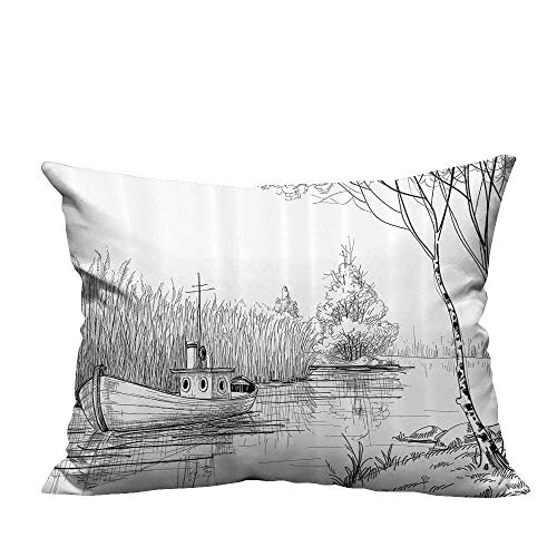 YouXianHome Print Bed Pillowcases Boat The River by The Water Reeds Fishing Lake Plants Hand Drawn Style Nature Washable and Hypoallergenic(Double-Sided Printing) 11x19.5 inch