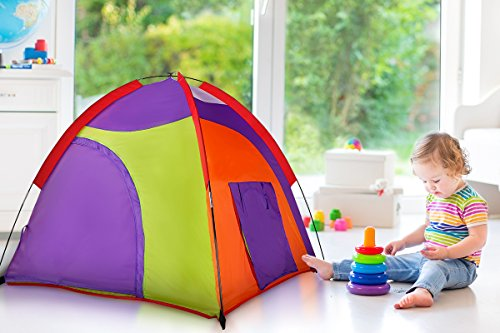 Alvantor Kids Tent Indoor Children Play Toy Toddler Pop up Outdoor Games Colourful Curvy Patent, Red, Orange,Purple,Green, 48'' 48'' 42'' by Alvantor (Image #2)