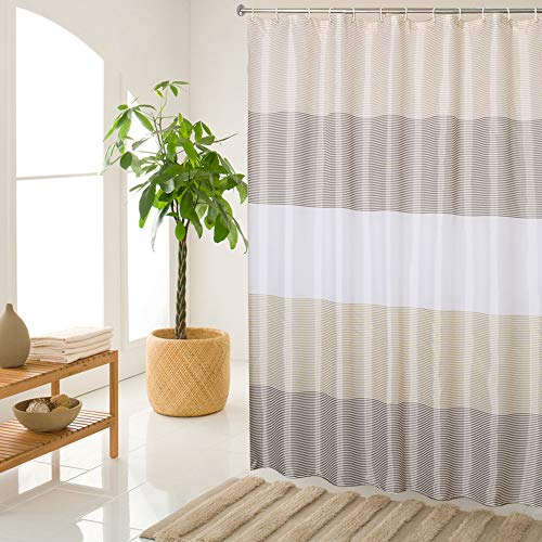 juyou Stripes Shower Curtain with Hooks Mildew Resistant Waterproof,Polyester Fabric for Bathroom Showers and Bathtubs,3 Size Available/79 W×71