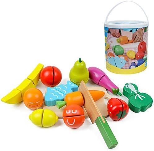 Kitchnexus 13 Teiliges Pädagogisches Küchenspielzeug Holzobst Holzgemüse Für Kleinkinder Schneideset Rollenspiele Im Eimer