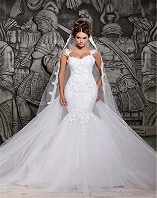 LUCKY-U Mujer Vestido de Novia Vestido de Novia Largo Flor de ...