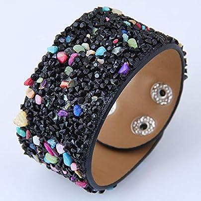 ZUOZUO Leather Wristband Handmade Full-Water Diamond Gravel Wide Leather Bracelet And Bracelet Ladies Wristband Jewelry Estimated Price £19.99 -