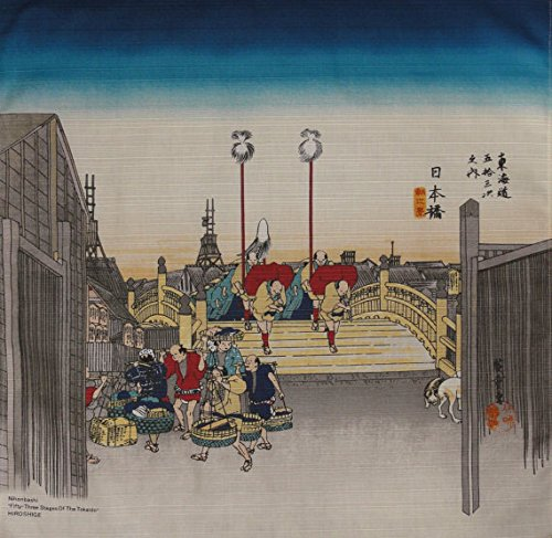 Furoshiki 'Tokyo Nihonbashi' Motif Japanese Fabric