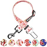 Blueberry Pet Spring Scent Inspired Floral Rose Baby Pink Adjustable Dog Seat Belt Tether for Dogs Cats, Durable Safety Car Vehicle Seatbelts Leads Use with Harness