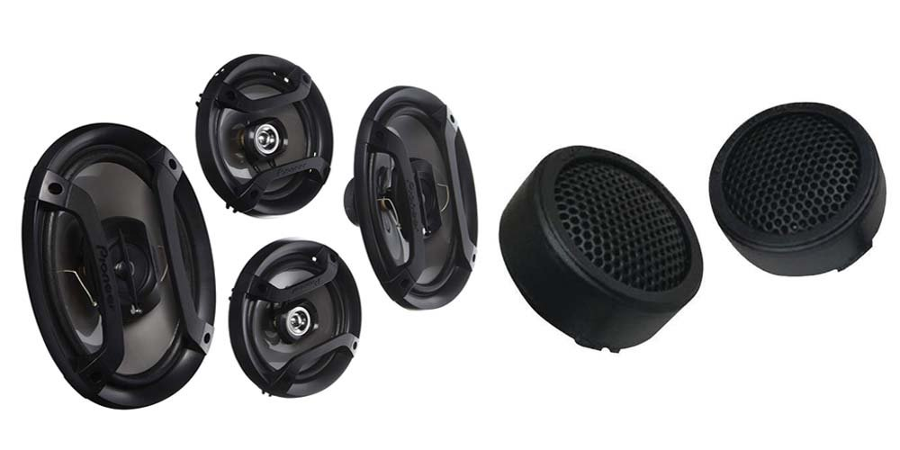 Pioneer TS-165P + TS-695P Two Pairs 200W 6.5'' + 230W 6x9'' Car Audio 4 Ohm Component Speakers + Cerwin-Vega XED1T 500W MAX 1 Inch XED Series Tweeter.