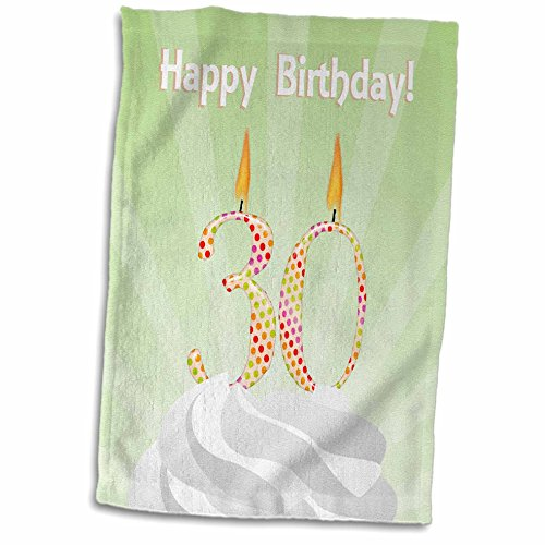 3dRose-Beverly-Turner-Birthday-Design-Number-30-Candle-with-Colorful-Dots-on-Top-of-Whipped-Icing-Happy-Birthday-Towel