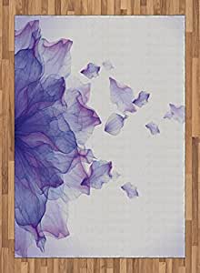 Flower Area Rug by Ambesonne, Abstract Themed Modern Futuristic Image with Water like Colored Artwork Print, Flat Woven Accent Rug for Living Room Bedroom Dining Room, 5.2 x 7.5 FT, Lilac and Pink