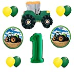 12pc new BALLOON set GREEN 1st BIRTHDAY TRACTOR first PARTY favors GFT decoration VHTF