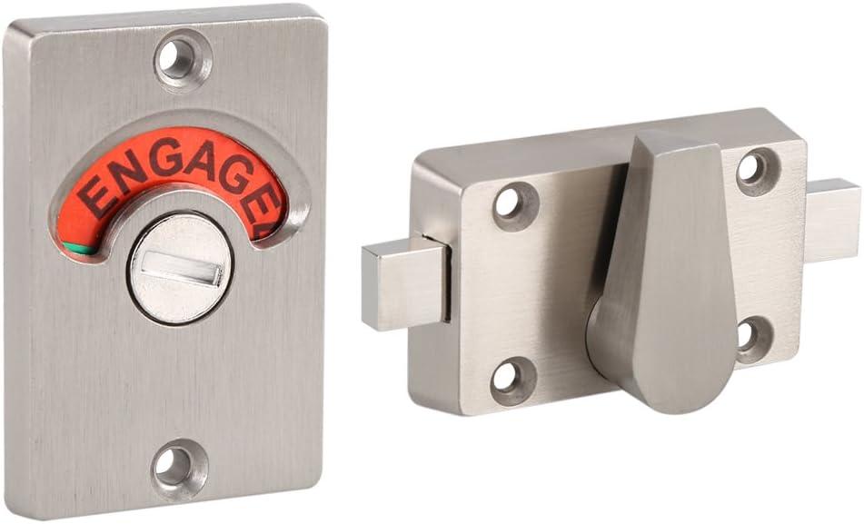 Indicateur de verrou de porte en acier inoxydable Boulon de confidentialité de salle de bain wc publics Serrure à pêne demi-tour Vacant Engaged + Vis
