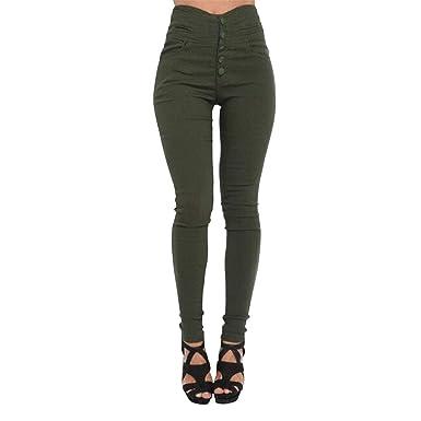 UK Womens Skinny Pencil Pants High Waist Stretch Slim Fit Denim Jeans Trousers
