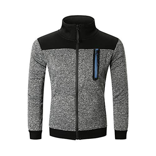 - Honhui Mens Coat Full Zip Splicing Long Sleeve Sweatshirt Pullover Warm Cosy Tops Overcoat Jacket