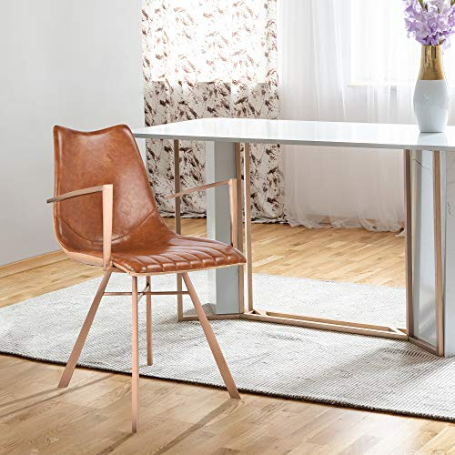 (Today's Mentality Shelly Contemporary Dining Chair in Copper Brushed Stainless Steel with Brown Faux Leather and Wood Grained Faux Leather)